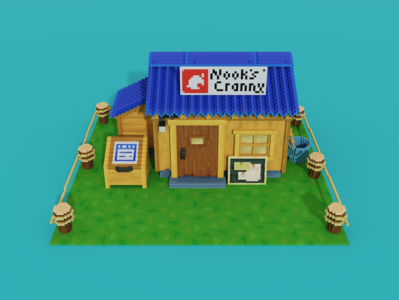 Voxel art of Nook's Cranny from New Horizons video games video game videogames videogame tom nook cranny nooks crossing animal 3d art model 3d pixelart pixel art voxel art voxelart voxels voxel