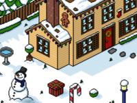 Pixel art Christmas scene. holiday scene 3d iso isometric isometry house gingerbread man gingerbread candy candy cane snowman christmas art pixels pixelart pixel art pixel