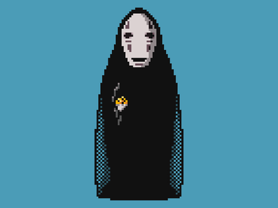 Pixel Art: No-Face Spirit no face hi-bit art podcast art pixel illustration studio ghibli spirited away kaonashi