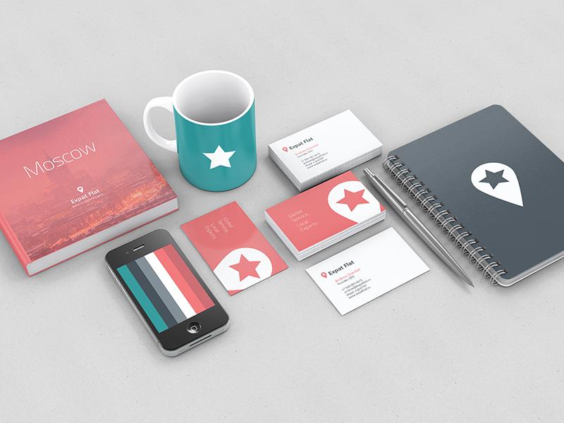 Expat Flat Visual Identity flat expat colour location pin star moscow real-estate visual identity brand logo