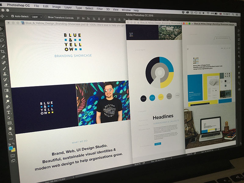 Blue & Yellow Design Studio New Website GO! logo visual identity branding brand design showcase presentation blue and yellow design typography colour palette website