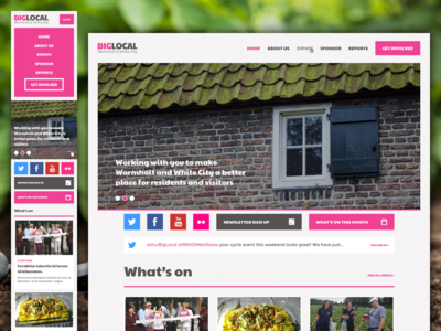 Big Local Community Website Design white city wormholt charity events community flat responsive website design blue and yellow hands up big local