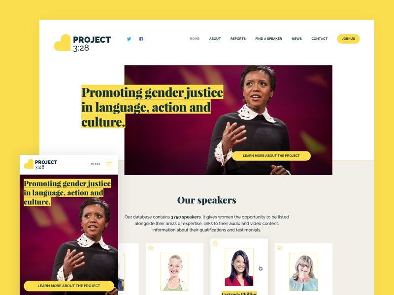 Mobile responsive homepage design mobile homepage design web ui ux website blue and yellow design justice women charity