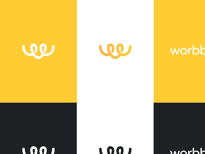 Worbby Branding logo visual identity brand design style guide presentation worbby blue and yellow design