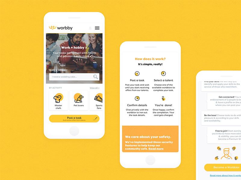 Worbby Web App UI Design Onboarding blue and yellow design website peer-to-peer mockup onboarding ux ui mobile app web worbby