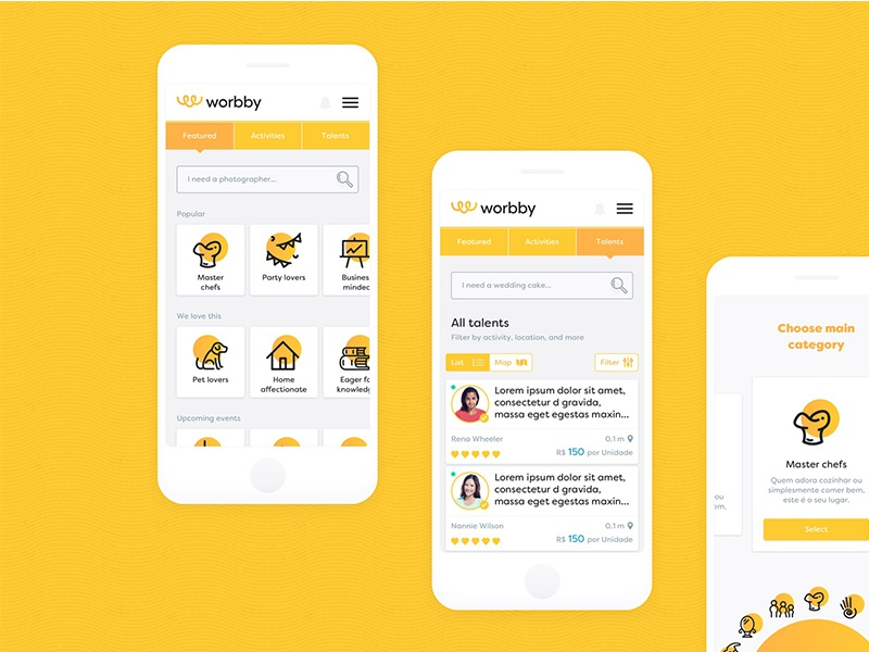 Worbby Web App UI Design - Talent Search Facilities blue and yellow design search website peer-to-peer mockup onboarding ux ui mobile app web worbby