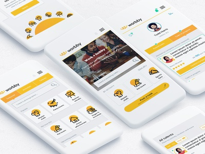 Worbby Mobile App UI - Client Side mockup worbby web app mobile ui ux peer-to-peer website blue and yellow design