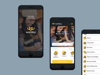 Worbby Web App UI Design - Splash, Actions, Categories