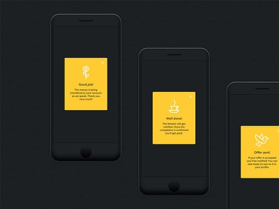 Worbby Web App UI Design - Confirmations worbby web app mobile ui ux peer-to-peer website blue and yellow design