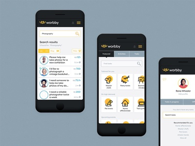 Worbby Web App UI Design - Search search worbby web app mobile ui ux peer-to-peer website blue and yellow design