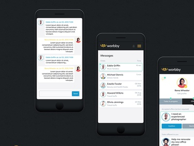 Worbby Web App UI Design - Communications chat worbby web app mobile ui ux peer-to-peer website blue and yellow design