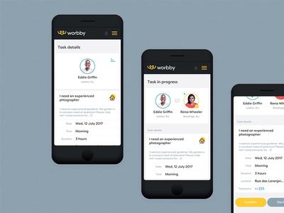Worbby Web App UI Design - Task Flow chat worbby web app mobile ui ux peer-to-peer website blue and yellow design