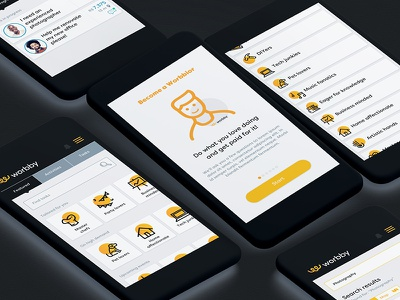 Worbby Web App UI Design - Service Provider Side worbby web app mobile ui ux peer-to-peer website blue and yellow design