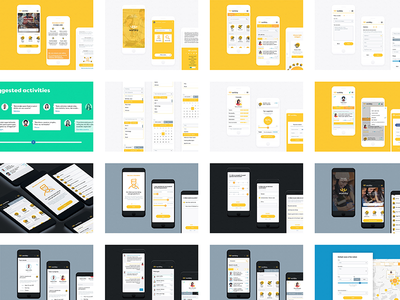 Worbby Web App UI Design Summary worbby web app mobile ui ux peer-to-peer website blue and yellow design