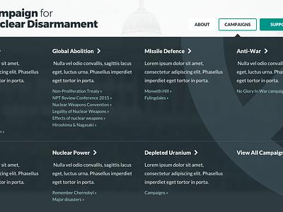Menu Drawer menu drawer mega menu menu blue and yellow design cnd charity website design donate call to action peace