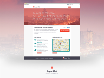 ExpatFlat Visual website visual mock ux ui typography homepage flat apartment moscow ussr red location moving relocating