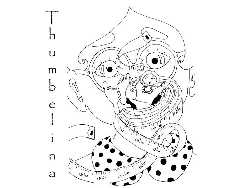 "Illustration for ""Thumbelina"" by Hans Christian Andersen graphic white black line girl inch illustration cover book"