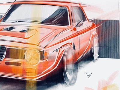 Alfa digital painting cardesign design sketch car