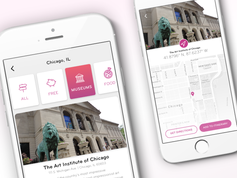 Map - Itinerary Planner travel museum art chicago itinerary map mobile ios concept