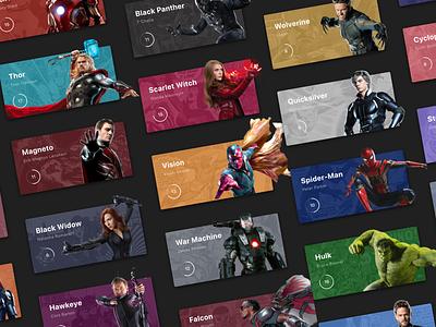 MARVEL Super Hero cards xmen avengers avenger marvel card design design superhero ui cards ui cards card