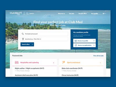 Club Med - careers website hr user flat design jobs ux ui website careers