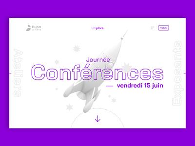 Flupa UX days — Conferences space rocket talks conference workshop event flupa graphic design interface website ux ui design
