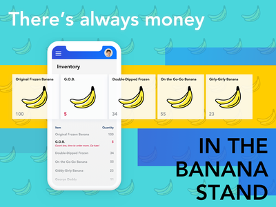Weekly UI Challenge banana stand restaurant inventory data table table card mobile app design mobile app mobile arrested development vector ombre ui gradient design