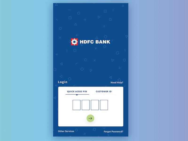 Hdfc mobile app Login Screen