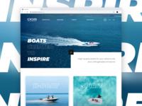 Aquaspirit website text border models screen design ui typography grid blue minimal web inspire boat boats design ui design