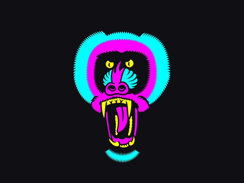 Acid mandrill adobe illustrator print mandrill monkey