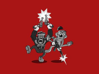 Cartoon gangsta monkeys adobe photoshop gorilla design print illustration ak47 gun monkey gangsta cartoon