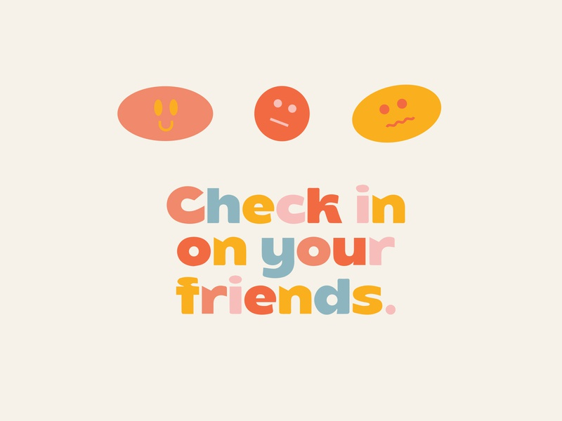 check in with your friends type rainbow design fun colors brand typography illustration logo