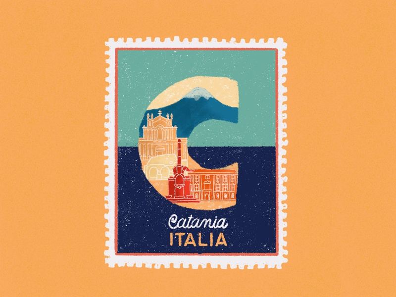 Cities stamps series - Catania, Italy colors lettering illustration art oldfashion pastel traveling map travelling city vintage stamp typography handdrawn drawing procreate illustration
