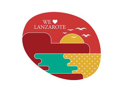 Illustration sticker yelllow red landscape birds sunsets sunset sea lanzarote island branding illustration