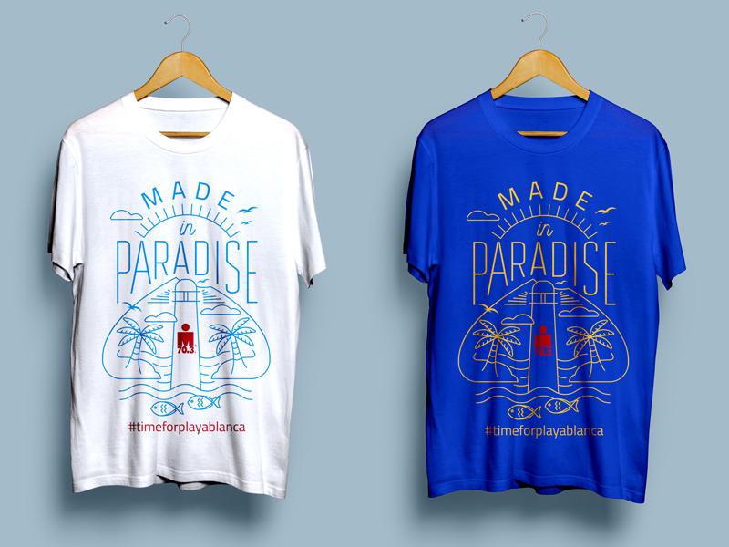 IRONMAN 70.3 t-shirt - unused proposal 2 tshirtdesign tshirt palmtree paradise beach lighthouse fish sun island lanzarote lettering brand typography illustration logo