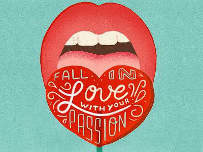 Fall in love - Lettering homwork ïllustrator illustrations lollipop love lettering typography procreateapp procreate illustration
