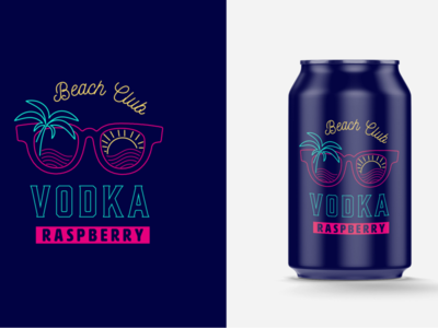 Vodka canned drink proposal monoline neon illustration logo raspberry wave palm palmtree sunglasses packaging seaside sea sun summertime summer fun vosdka can drink beach
