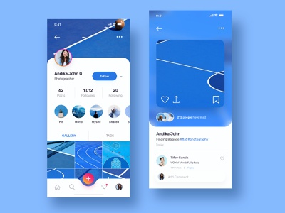 Instagram Redesign Concept blue mobile ui mobile design mobile app apps mobile flat desig flat designs photo gallery instagram detail image detail page profile page profile