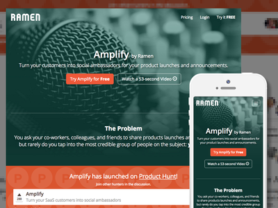 Amplify Landing Page launching sharing product hunt linkedin facebook twitter social media
