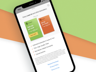 Subscription Book Service Before & After ios ui iphone