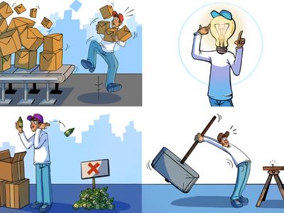 Tim Woods sustainability information character comic procreate art drawing infographic graphic design cartoon design communication waste cartoon illustration