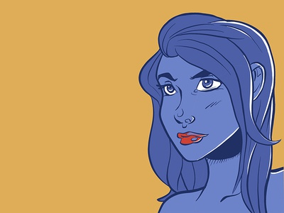 Blue Girl Portrait character painting illustration agency yellow purple color minimal artwork ipad digitaldrawing sketchbook sketch drawing girl procreate illustrator design graphic art illustration