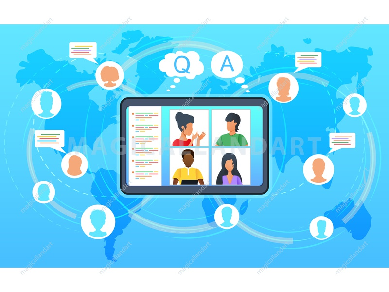 Online video conference people mobile internet team tablet webinar dialogue meeting freelance education discussion chat communication office online conference video business vector magicallandart