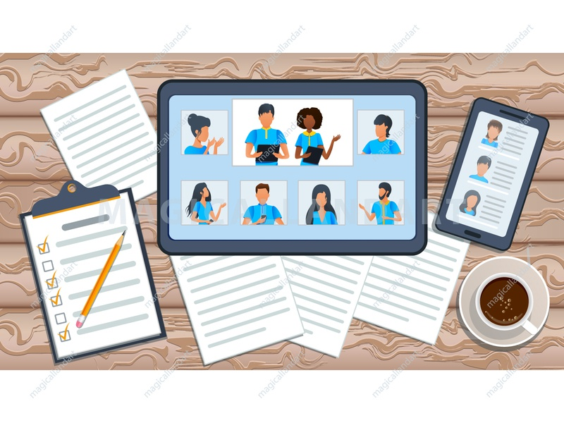 Employee engaged in video conference people mobile internet team tablet webinar dialogue meeting freelance education discussion chat communication office online conference video business vector magicallandart