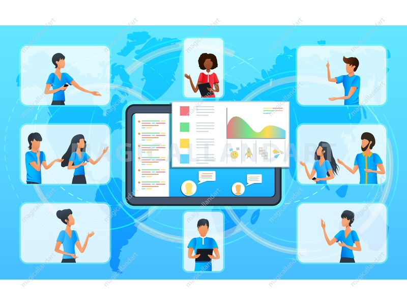 Business people at a video conference people mobile internet team tablet webinar dialogue meeting freelance education discussion chat communication office online conference video business vector magicallandart