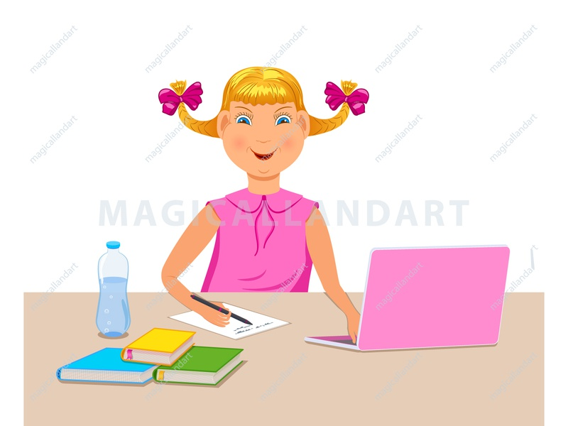 Happy schoolgirl studying homework writing happy vector girl home cartoon book study notepad boy kids children coronavirus education homework laptop online school schoolboy magicallandart