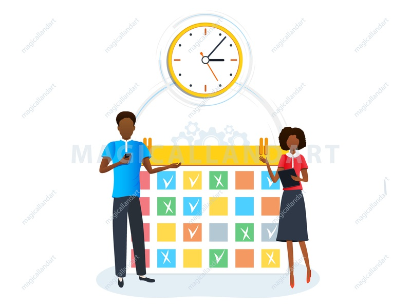 Concept of time management, tasks planning, scheduling magicallandart strategy schedule project process plan people organize optimization office meeting management man job finance efficiency deadline corporate clock business