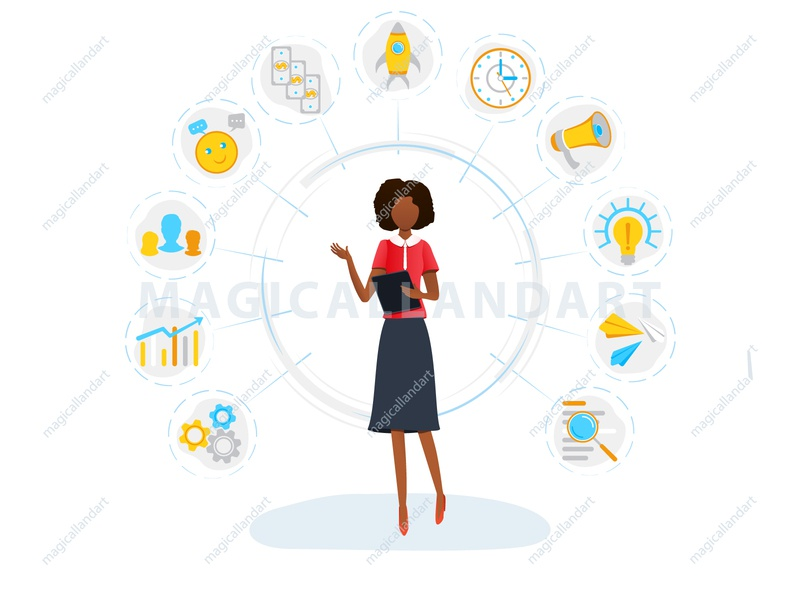 Black businesswoman and multitasking concept woman work time task success strategy startup project organization office multitask money management infographic icon freelance finance employee magicallandart effective