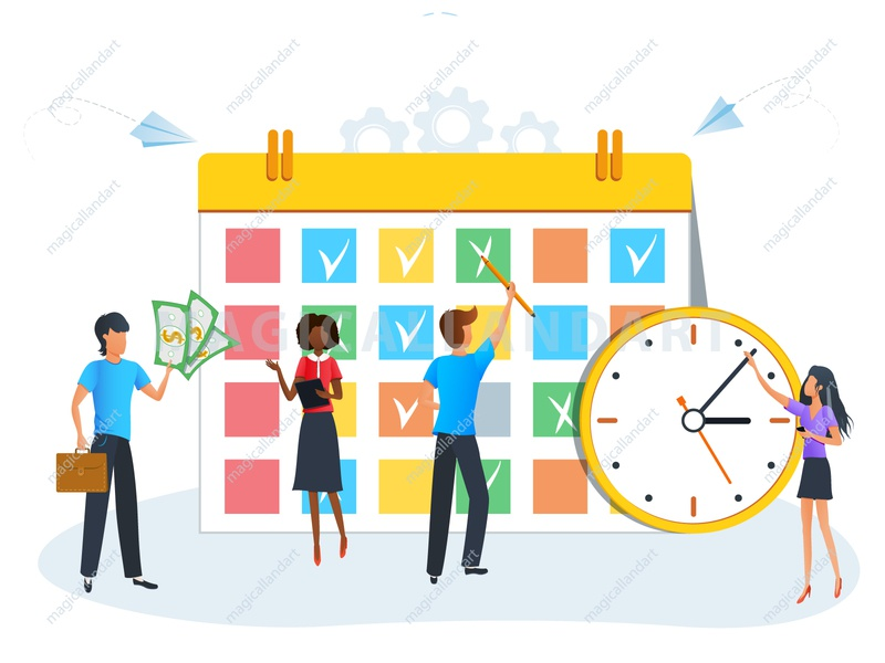 Business people planning schedule work woman time team task strategy schedule project productive process plan people organize optimization office meeting management man finance magicallandart