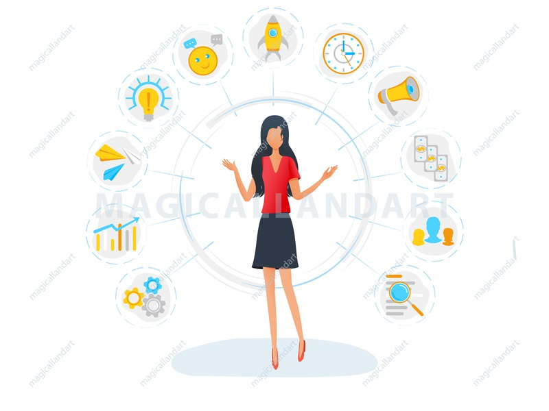 Businesswoman is standing surrounded by office task icons office multitask money management infographic icon freelance finance employee efficiency magicallandart effective corporate computer clock chat cash busy woman business
